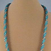 Vintage Czech Glass Aqua and camel Colored handmade Bead Crochet