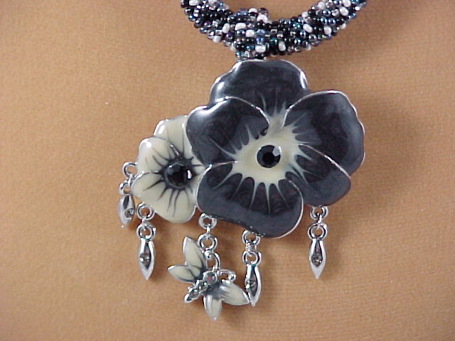 Handmade Black and White Tweed Seed Bead Necklace with Pansies