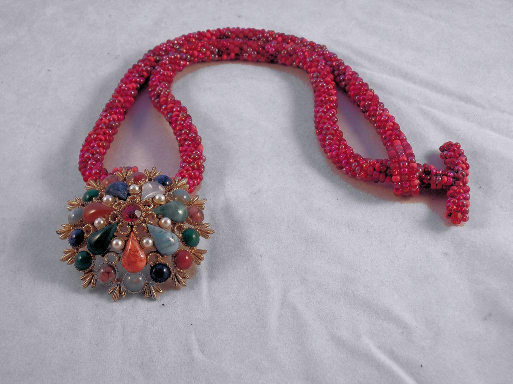 Handmade Red Tweed Seed Bead Necklace