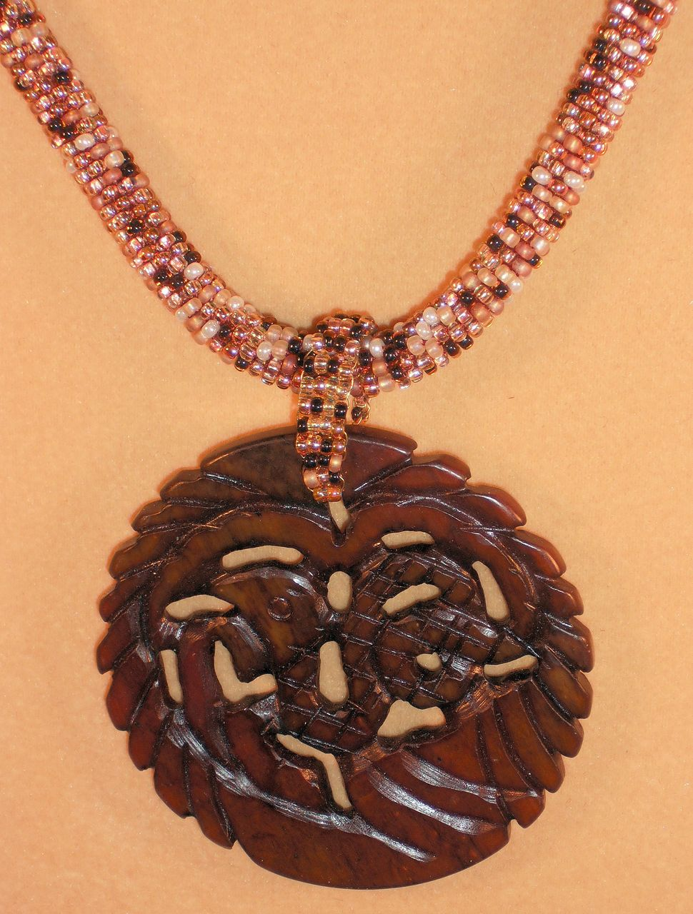 Handmade Brown Tweed Seed Bead Necklace