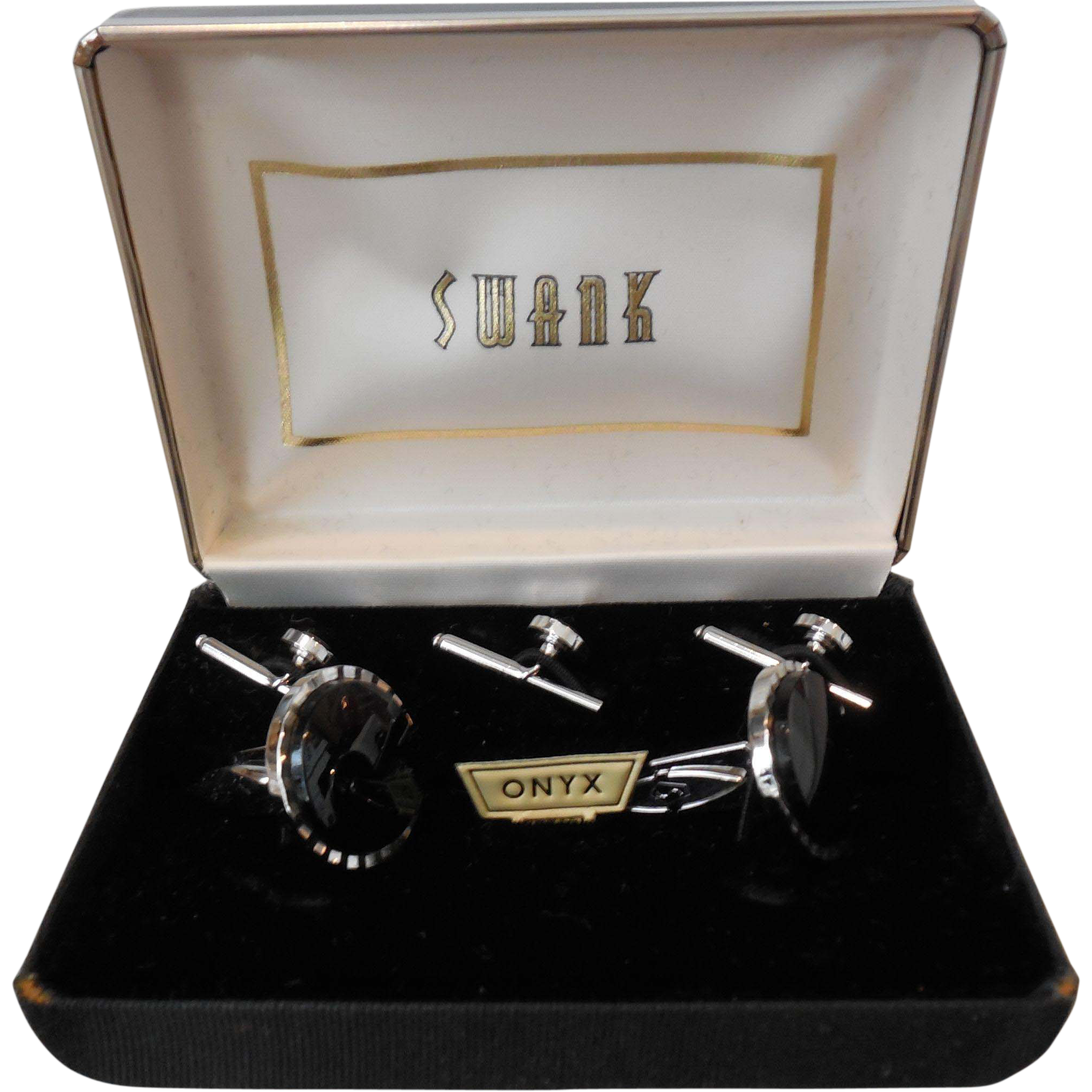Vintage Swank Onyx Tuxedo Set in Original Box