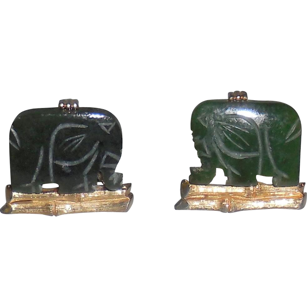 Cufflinks Vintage Swank Hand-Carved Spinach Jade Elephant