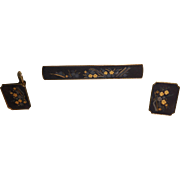Vintage Japanese Amita Damascene Cufflinks and Tie Bar
