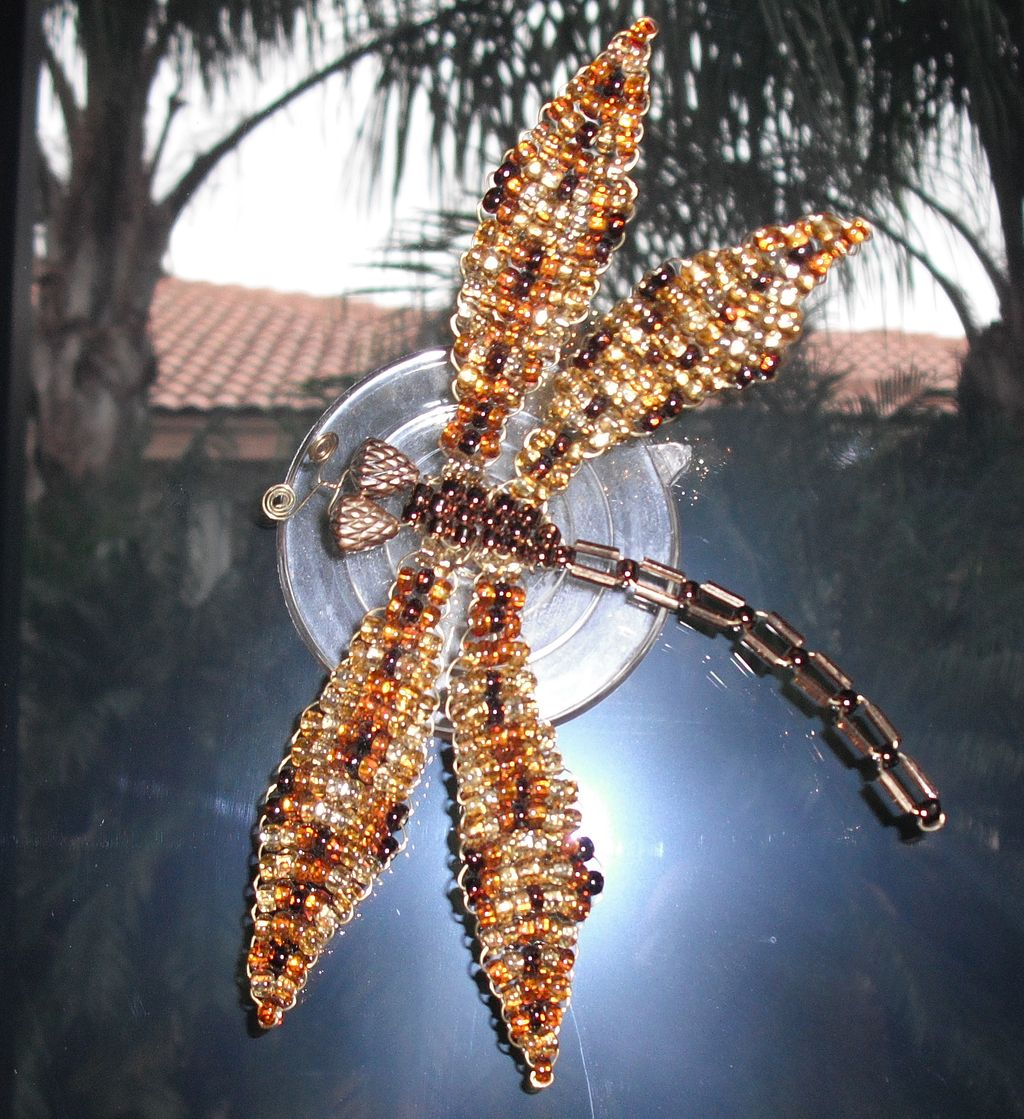 Bright Brown Tweed Beaded Dragonfly Door Decoration