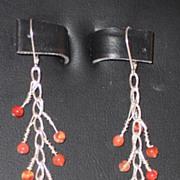 Artisan Carnelian and Sterling Pierced Earrings