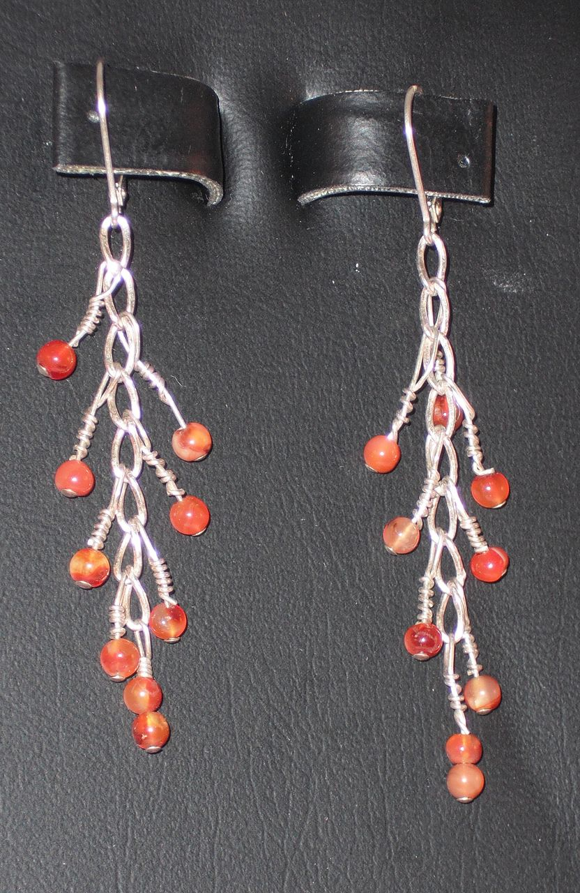 Artisan Earrings : Artisan carnelian and sterling pierced earrings from