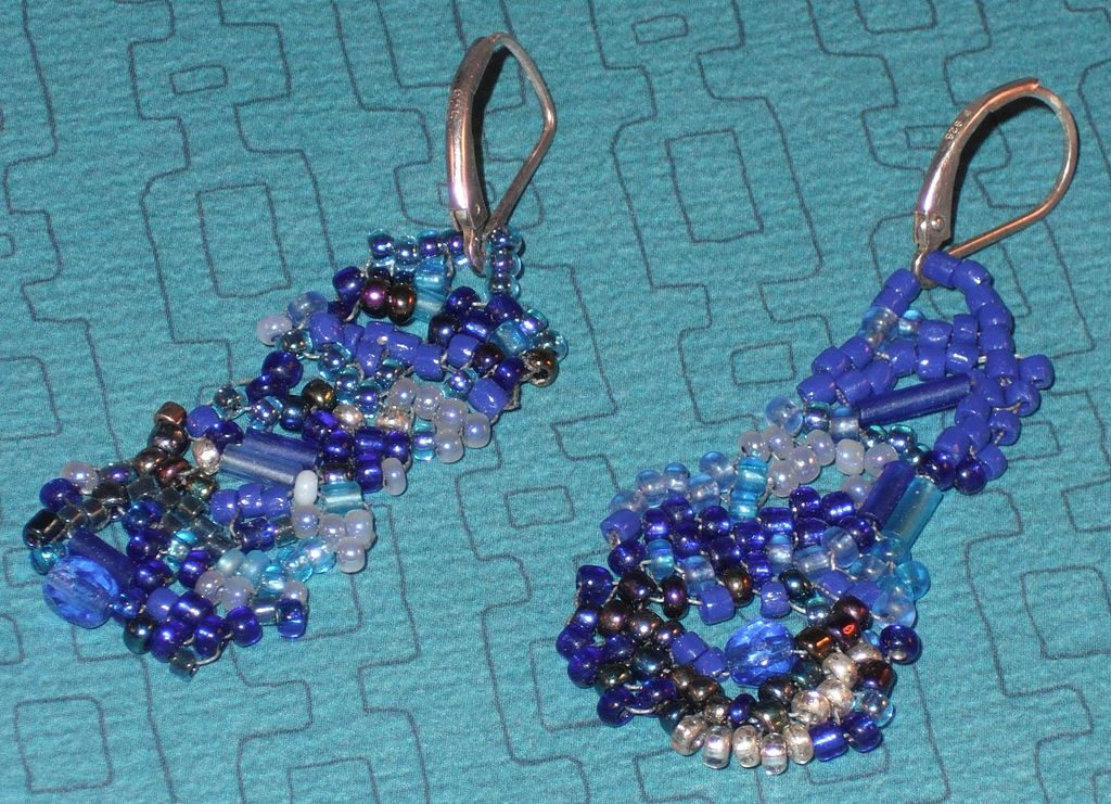 Handmade Unmatched Pair Blue Bead Earrings Silver Pierced