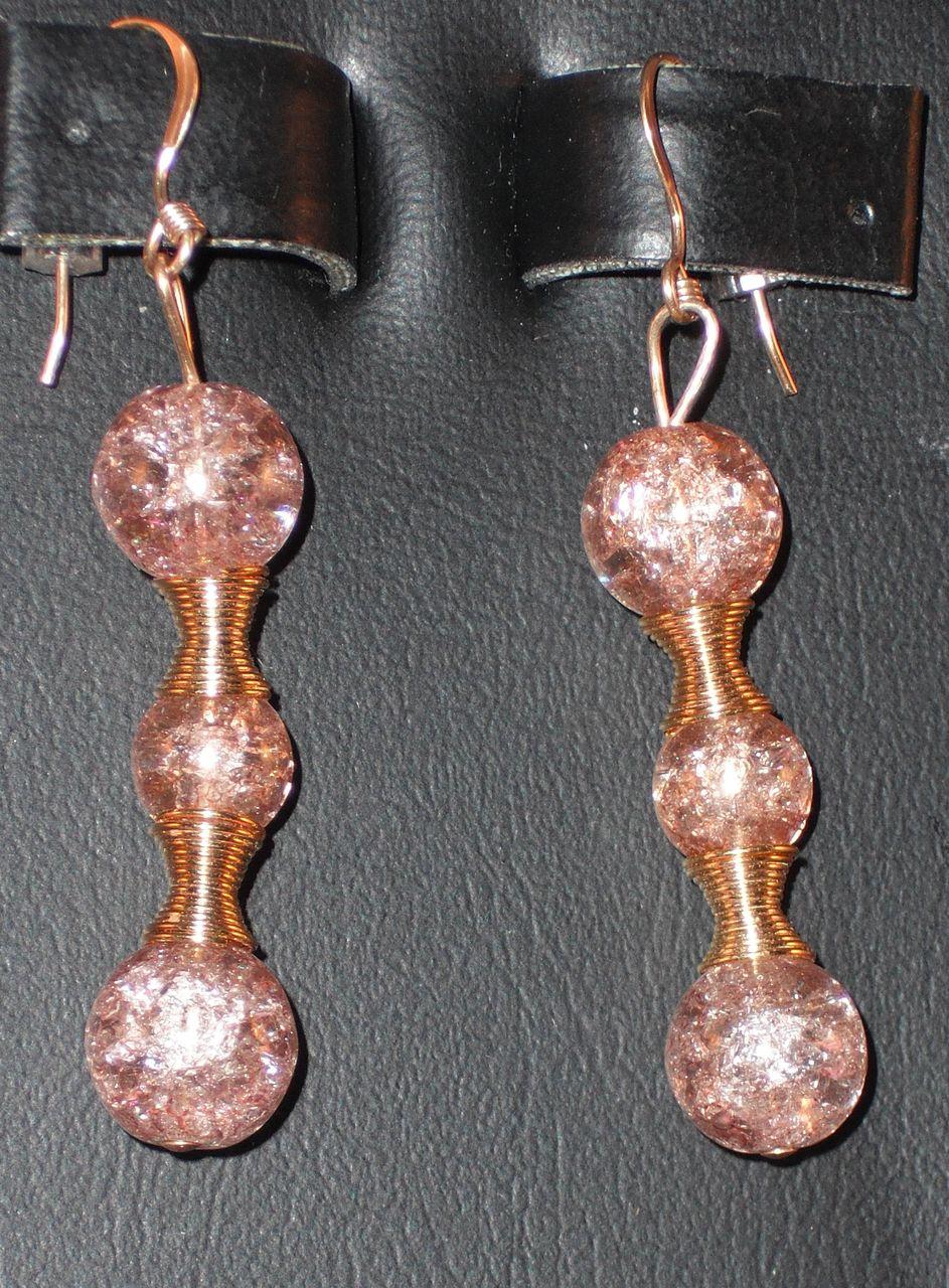 Handmade Gold Crackle Glass Beaded Pierced Earrings