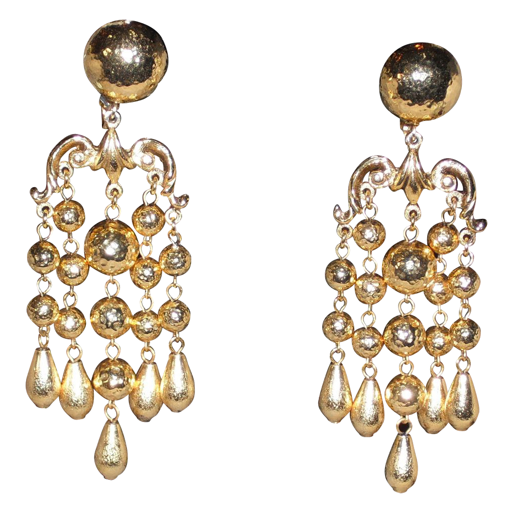 Jose and maria barrera vintage gold plated chandelier clip jose and maria barrera vintage gold plated chandelier clip earrings mozeypictures Image collections