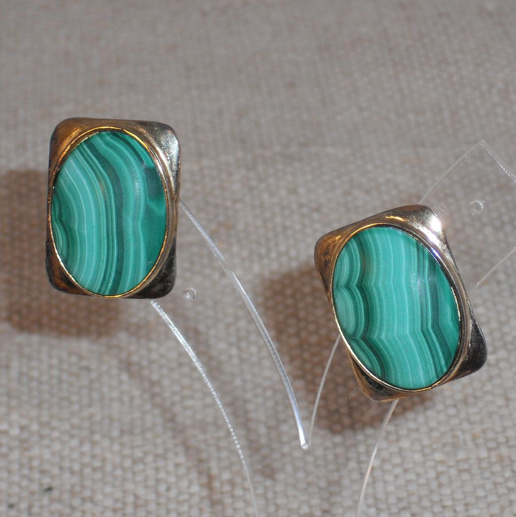 Vintage Malachite Earrings in Gold Washed Sterling Frame for Pierced Ear
