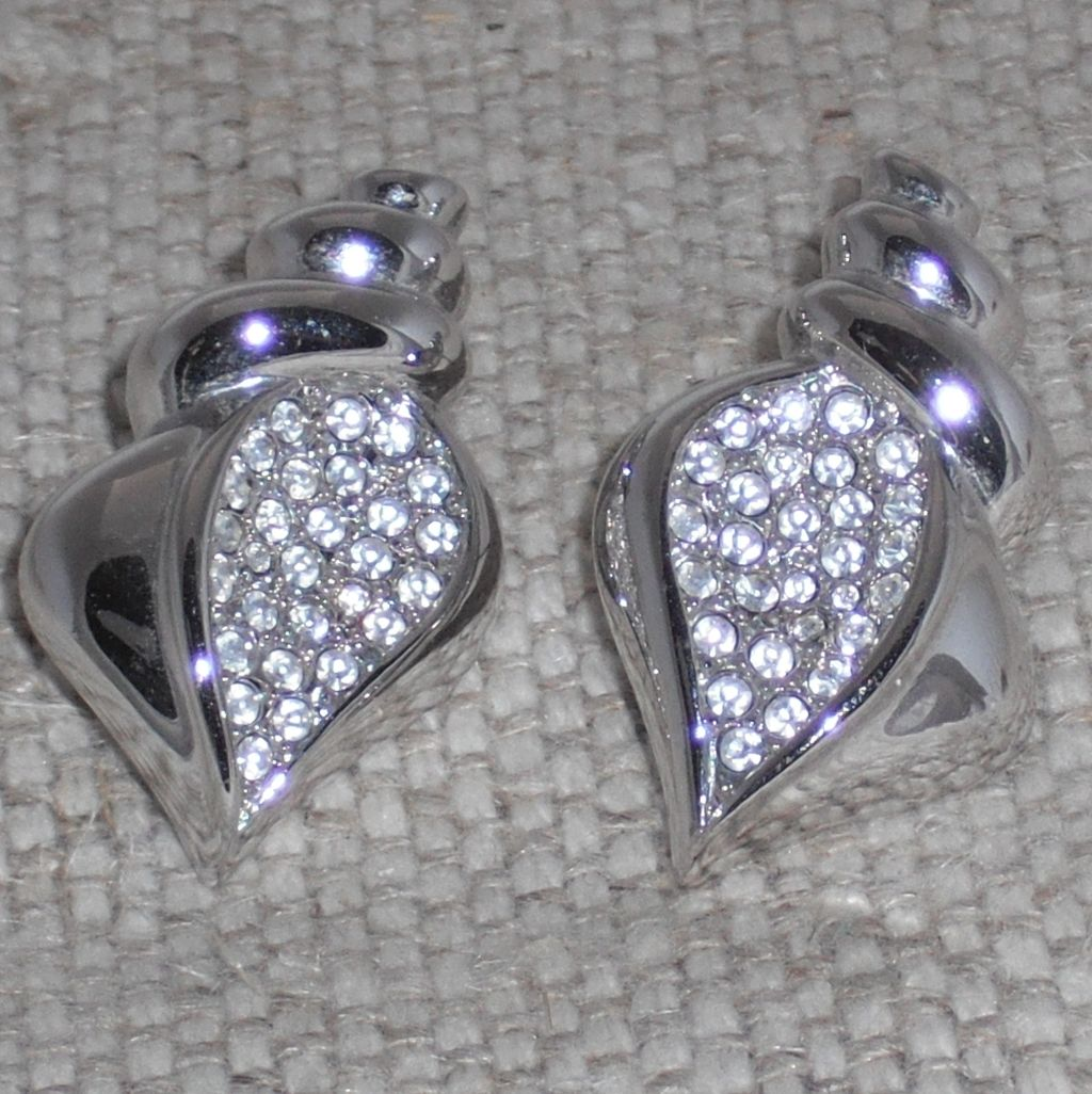 Vintage Swarovski Signed Shell Shaped Silver Plated Post Earrings