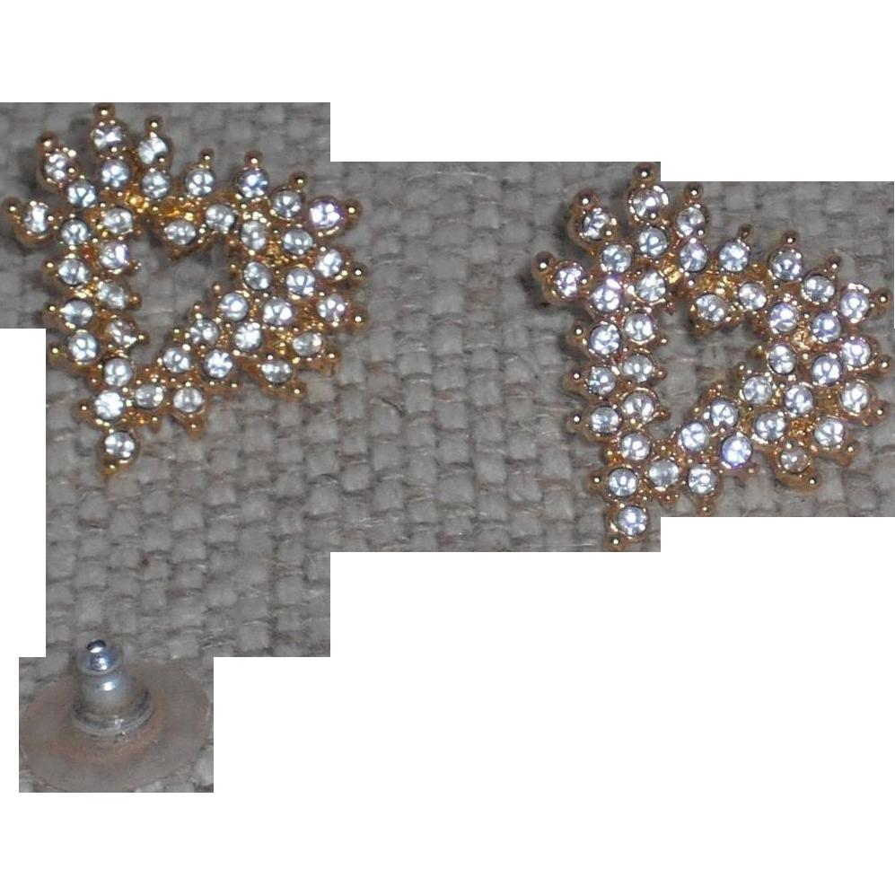 Vintage Marvella Rhinestones Modernist Heart Shaped Earrings pierced