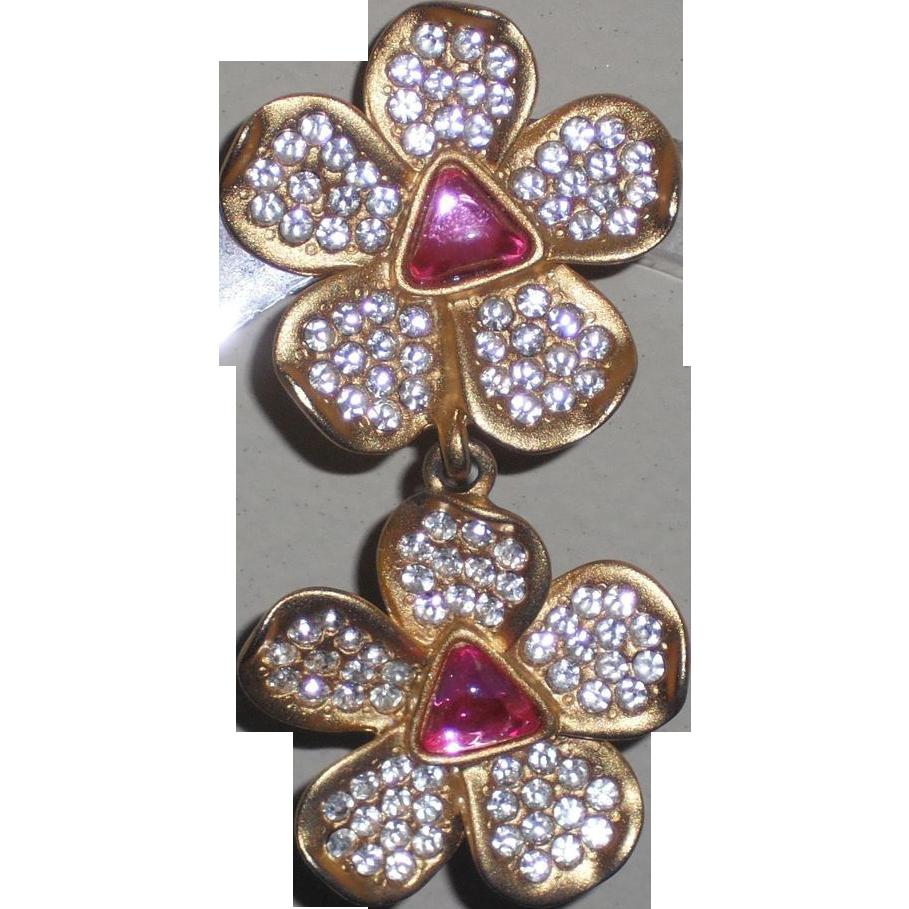 Vintage Caroline Herrera Double Daisy Clip Earrings