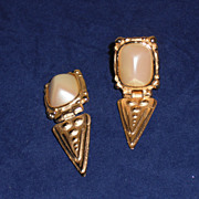 Vintage Givenchy Gold Plated Faux Pearl Shield Shaped Clip Earrings