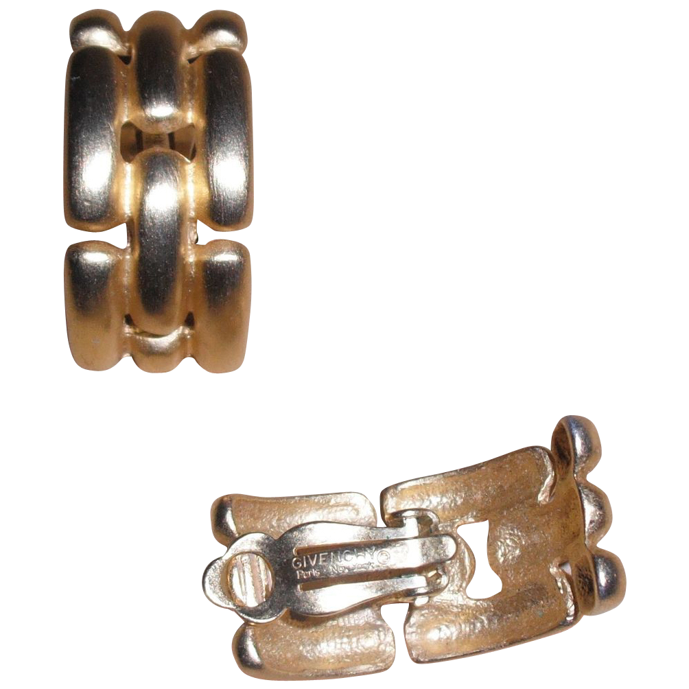 Vintage Givenchy Chain Look Vintage Gold Plated Clip Earrings