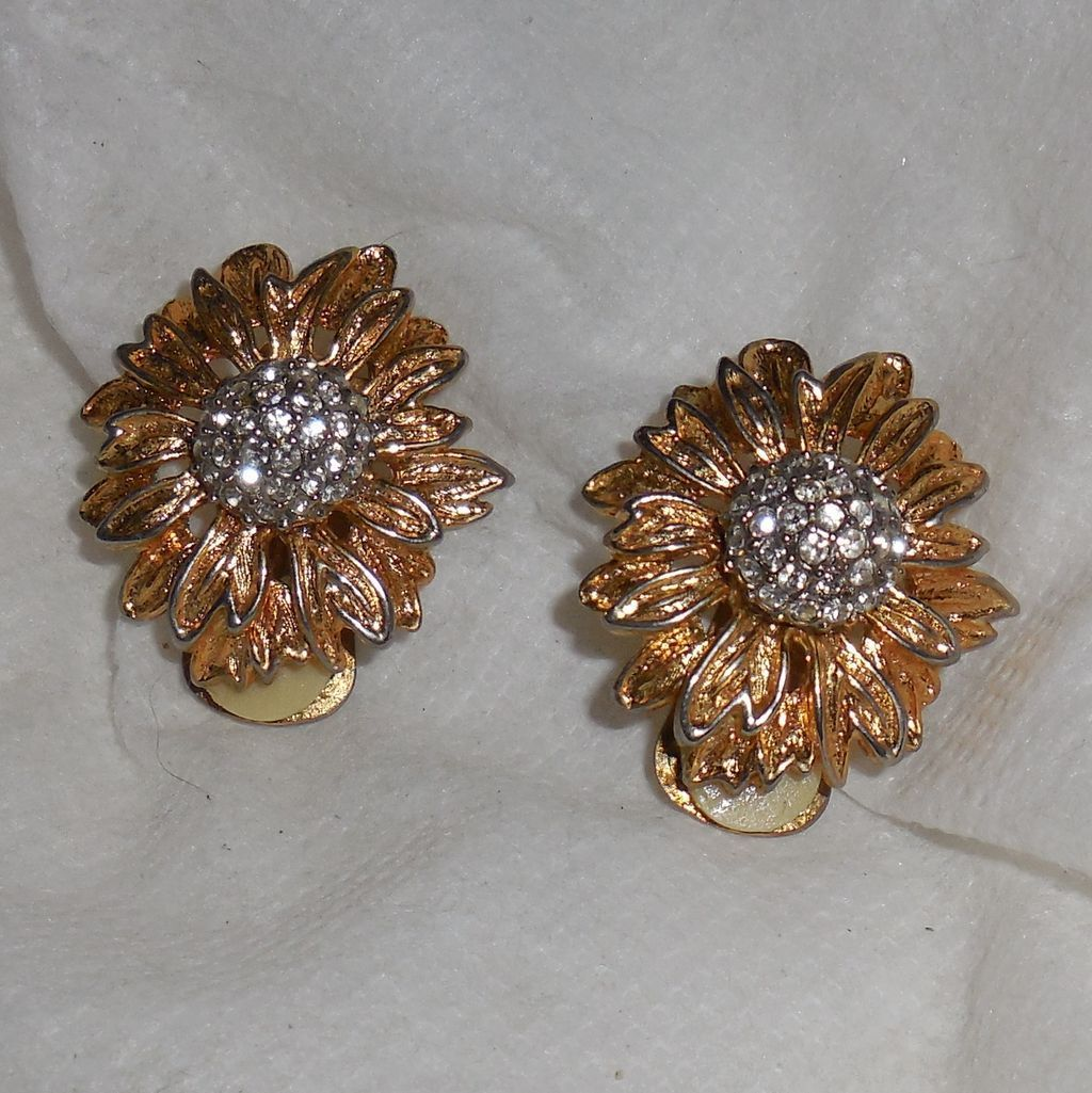Vintage Flower Clip Earrings with Pave` Rhinestones Center