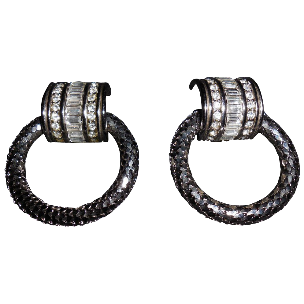 Vintage Whiting and Davis Silver Plated Large Mesh Doorknocker Clip Earrings