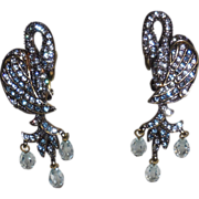 Vintage Heidi Daus Rhinestone Clip Earrings