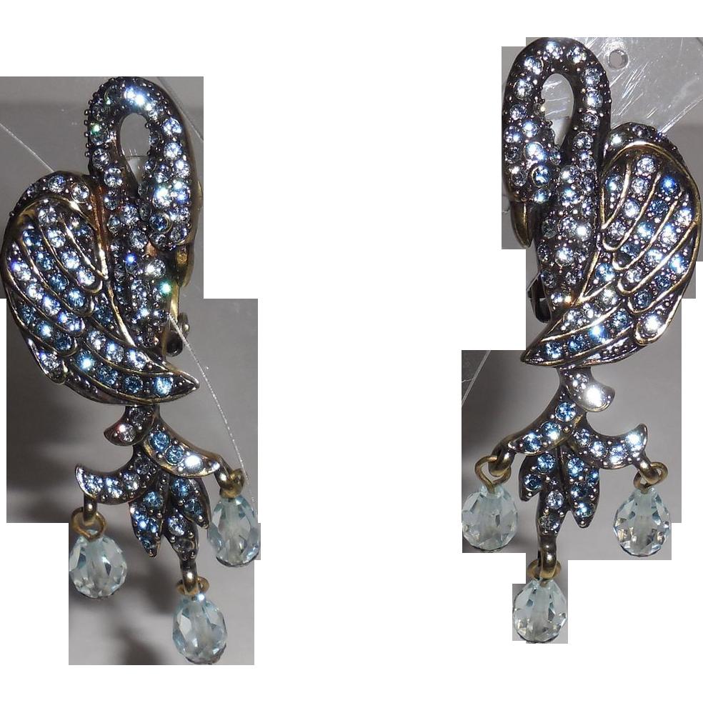 Vintage Heidi Daus Rhinestone Clip Earrings
