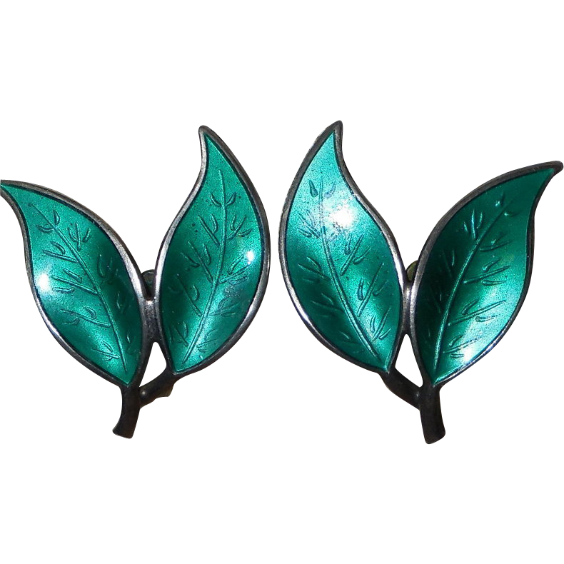 Vintage David Andersen Sterling Green Enamel Double Leaf Clips Earrings
