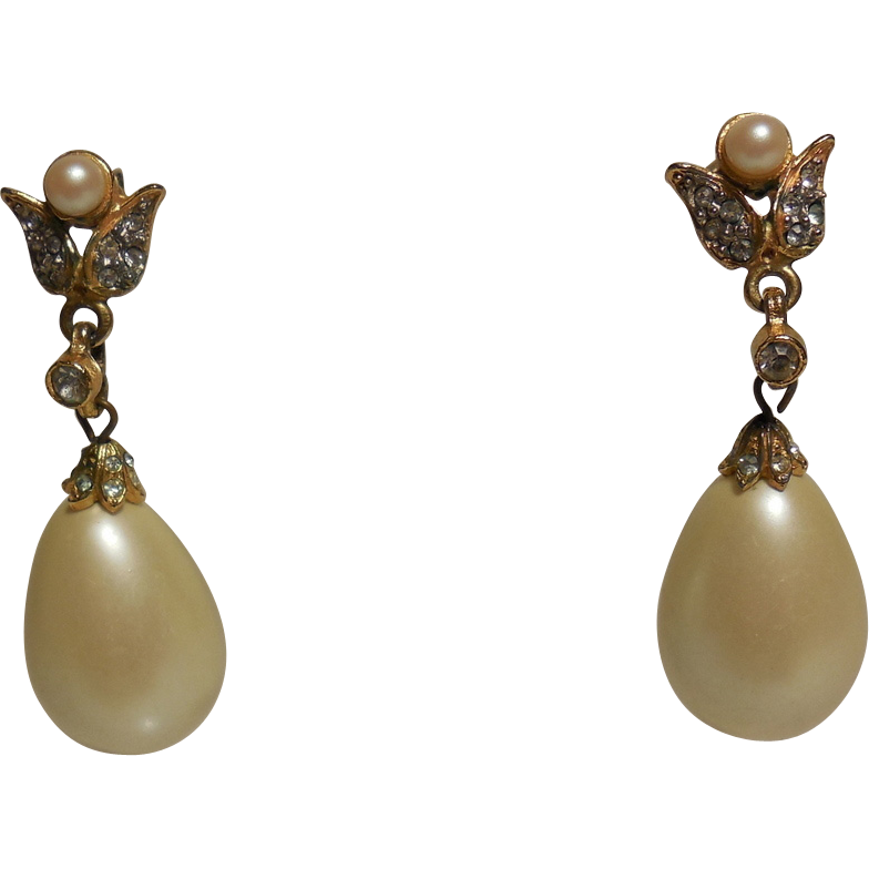 Vintage KJL for Laguna Large Pear Shaped Faux Pearl Dangle for Pierced Ears
