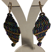 Iris and Gold Seed & Bugle Beaded Earring.