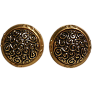 Vintage Leslie Block Gold Plated Round Button Shaped  Clip Earrings