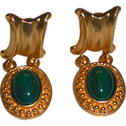 Faux Malachite Vintage Gold Plated Clip Earring