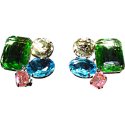 Bold Multi Colored Lucite Stone Clip Earrings