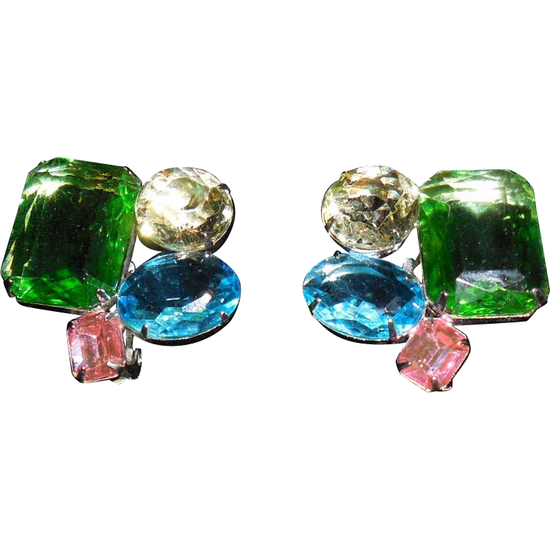 Vintage Bold Multi Colored Lucite Stone Clip Earrings