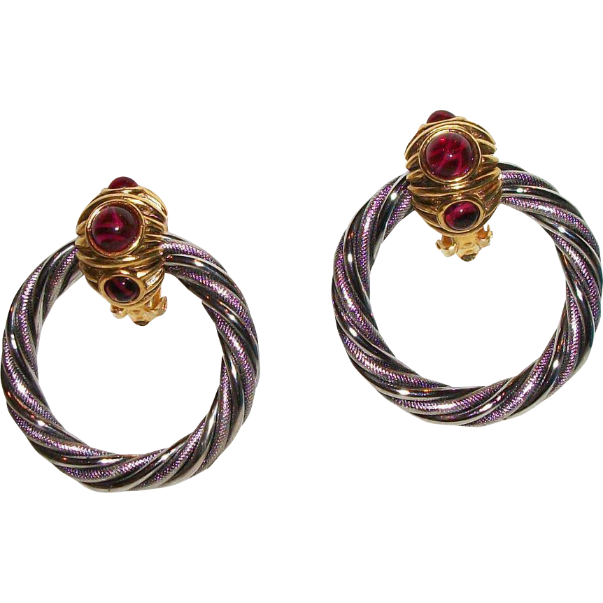 Vintage Barrera Gold and Silver Plated Door Knocker Earrings with Faux Stones