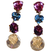 Magnificent Vintage 10Kt Cold Multi Colored Semi-Precious Stones Clip Earrings