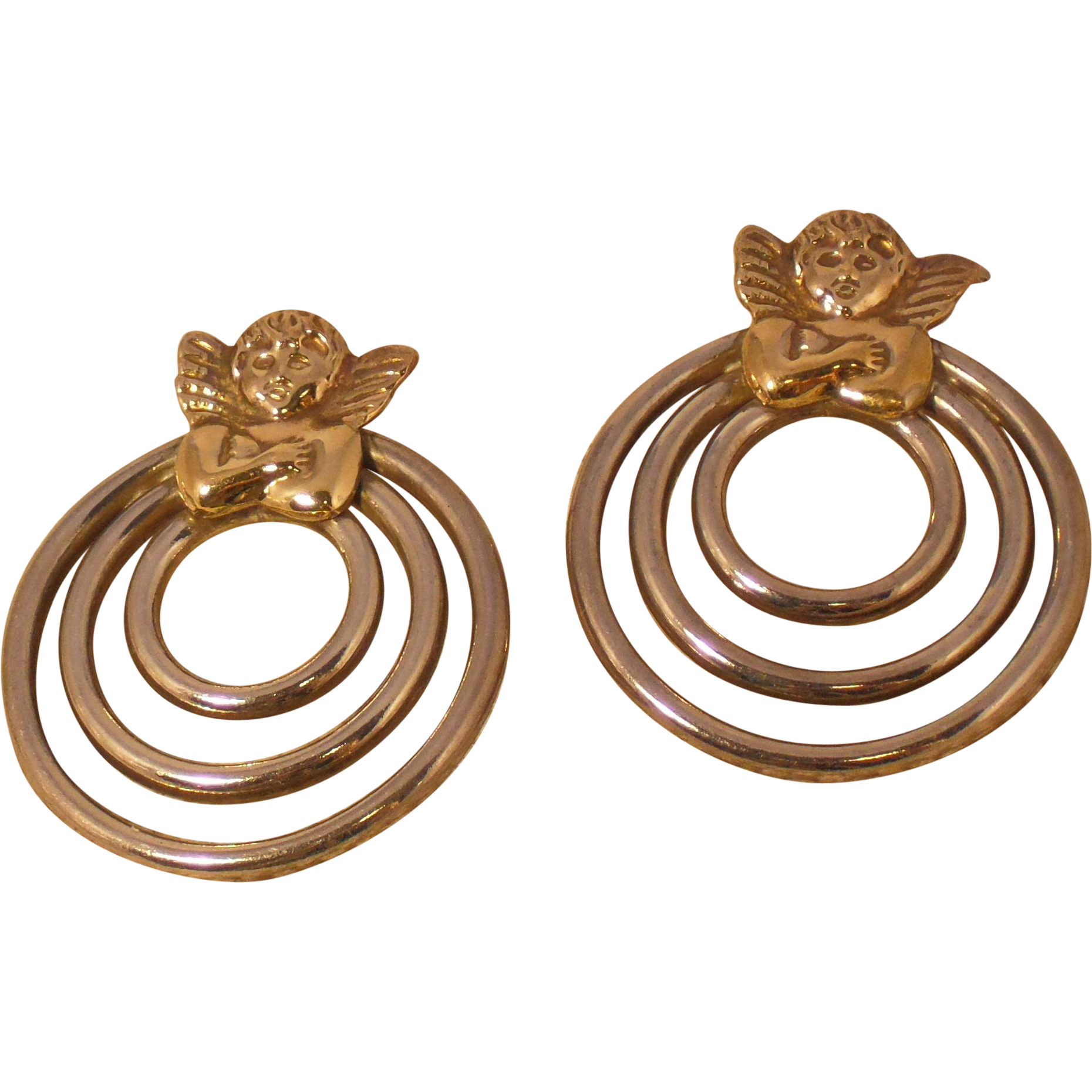 Vintage Angel Earrings in Sterling and 18 Karat Yellow Gold - Pierced Post