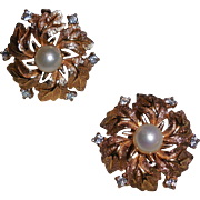 Vintage Jomaz Gold Plated Flower Clip Earrings