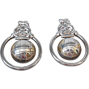 Vintage Globe Earrings in Sterling and 18 Karat Yellow Gold | Post