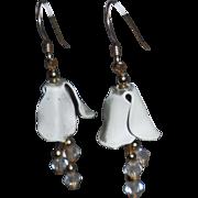 Flower Earrings with Crystal Dangles | Pierced
