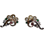 Vintage Crown Trifari  Jewels of  India Clip Earrings