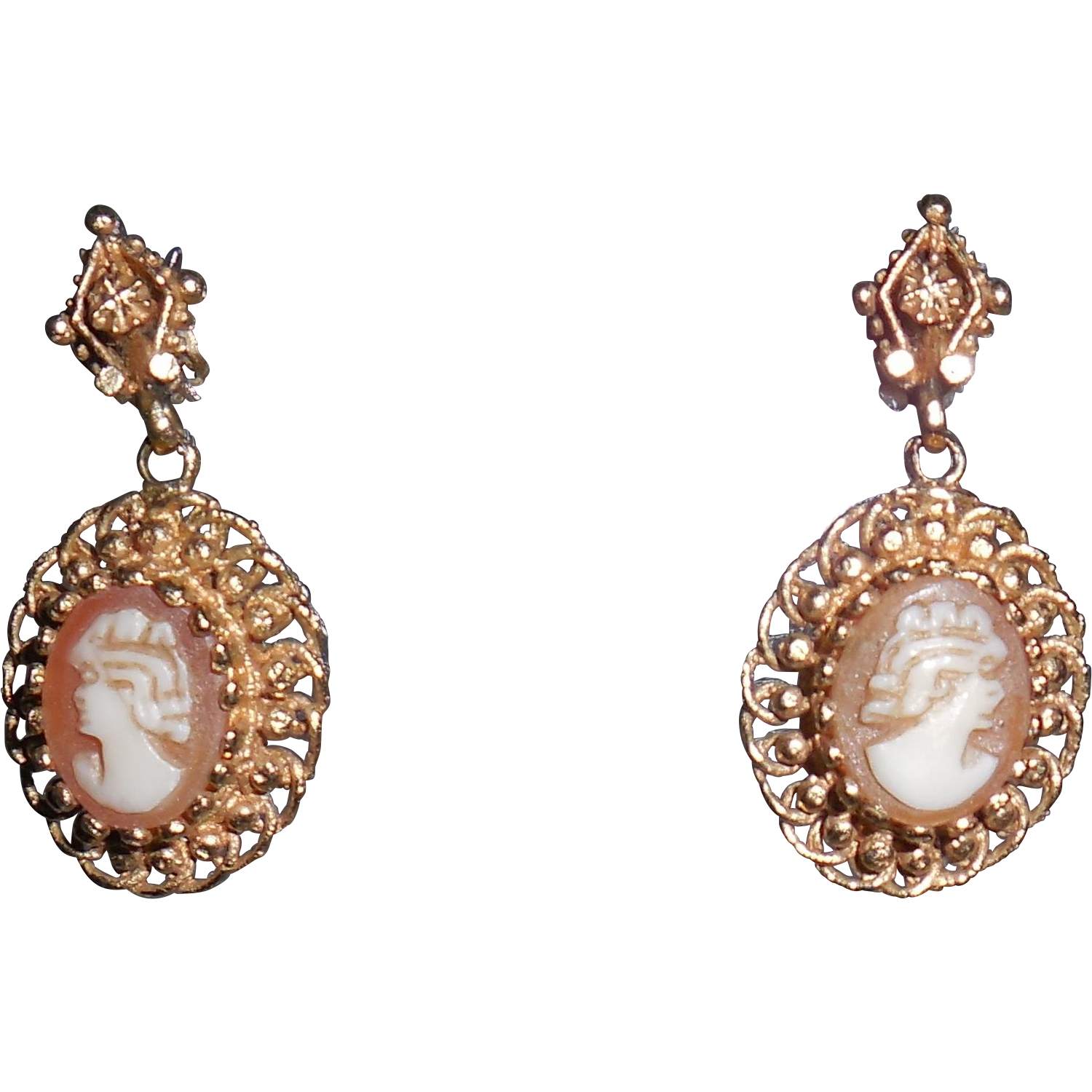 Gold14 Karat Yellow  Small Cameo Vintage  Earrings