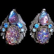Vintage Florenza Faux Opal Confetti Lucite Cabochon Clip Earrings
