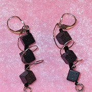 Handmade Black Goldstone Earrings Wrapped with Sterling Wire