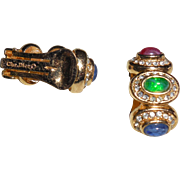 Christian Dior Gold Plated Rhinestone Faux Sapphire Emerald and Ruby Cabochon Clip Earrings