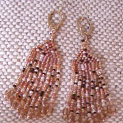 Handmade Brown Tweed Seed Bead Earrings