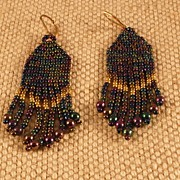 Handmade Blue Iris Seed Bead Earrings