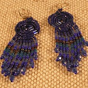 Handmade Blue Seed and Bugle Bead Earrings