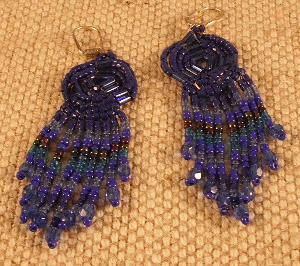 Handmade Blue Seed and Bugle Bead Earrings