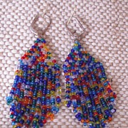 Handmade Multi Colored Seed Bead Earrings
