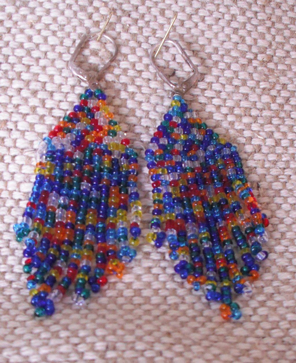 Handmade Multi Colored Seed Bead Earrings