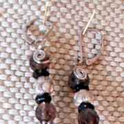 Handmade Smokey Quartz and Silver Earrings