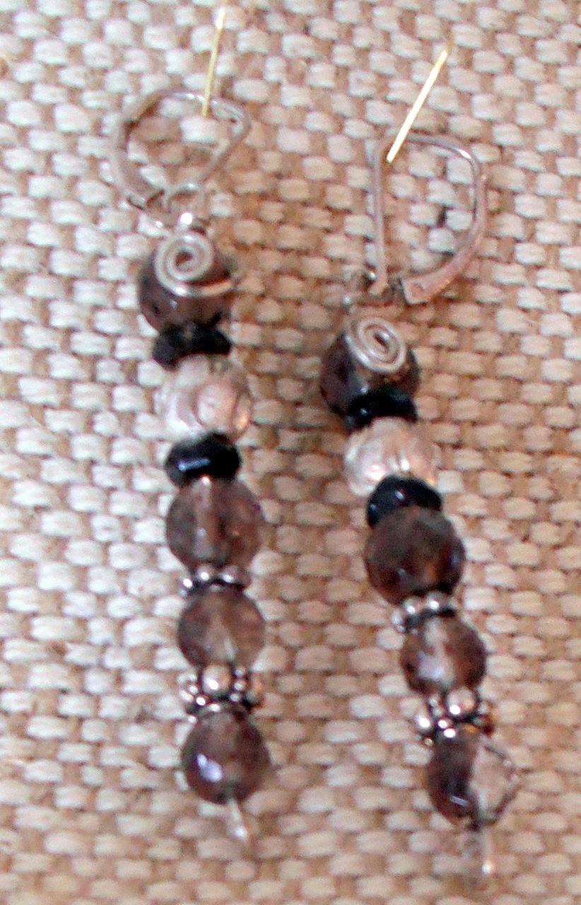 Handmade Smokey Quartz and Silver Earrings