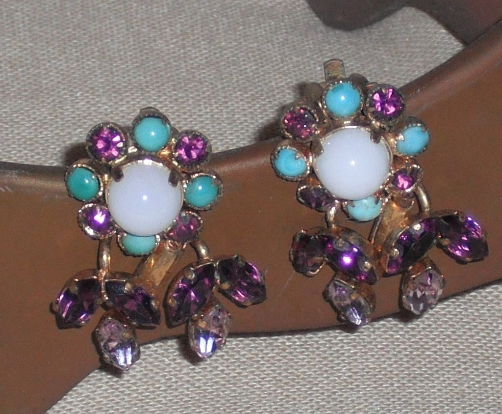 Austrian Crystal Clip Earrings Marked 'Made in Austria'